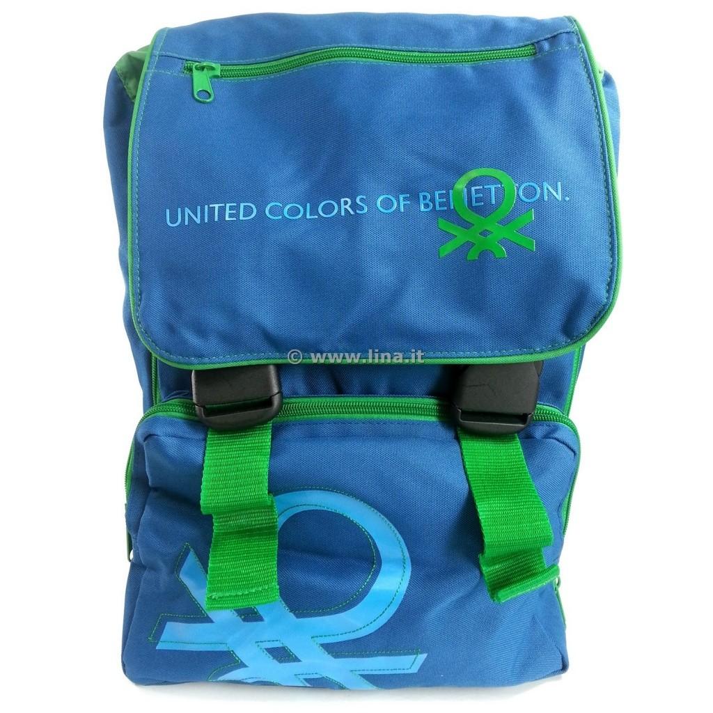 disponibilità nel Regno Unito f57df f7f8a Zaino Scuola Estensibile Benetton Blu Verde Scuola 2014/15 - 03011521B