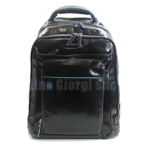 12b79ba629c7f4 Zaino P/PC con Porta Ipad Tutta Pelle Piquadro Nero Linea Blue Square -  CA1813B2/N