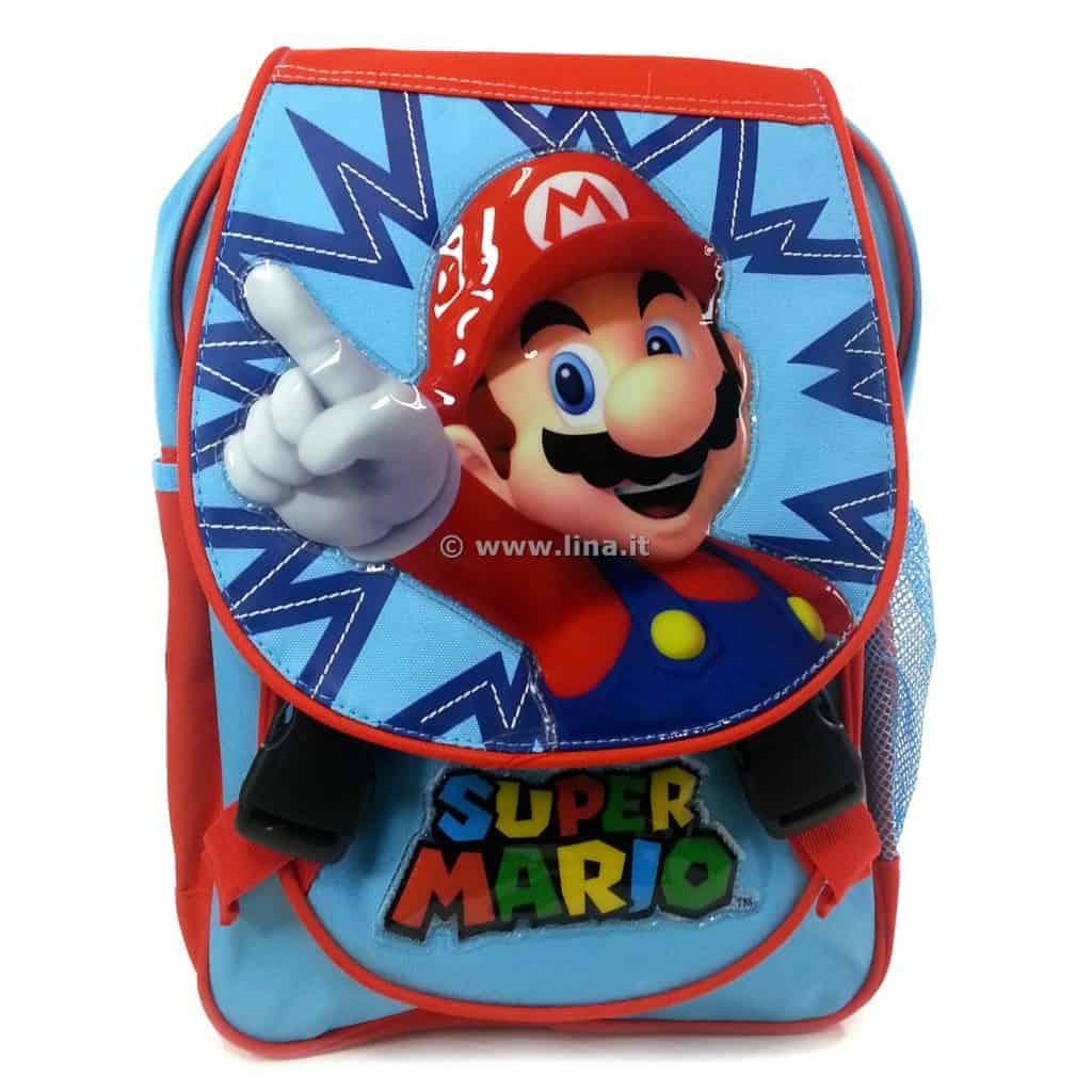 4824e742b7 Zaino Scuola Asilo Junior Super Mario Kids Azzurro Arancio - 01060629