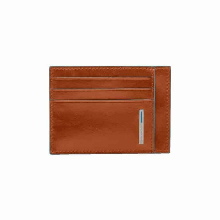 19b332cead Porta Carte di Credito in Pelle Piquadro Arancio Linea Blue Square ...