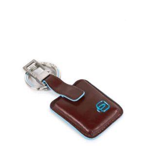 Portachiavi Piquadro in pelle Blue Square mogano Con CONNEQU - AC3954B2/MO