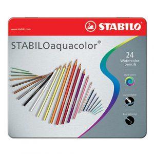 Matite Aquacolor Stabilo 24 Colori Confezione Metallo  - 1624-5