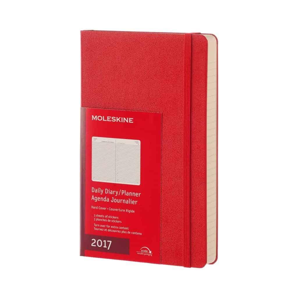agenda moleskine 2017 giornaliera large 13x21 rigida rossa