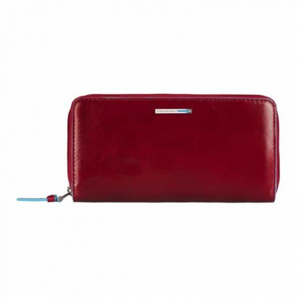 Portafoglio Piquadro donna a tre soffietti con zip rosso Linea Blue Square - PD3229B2/R