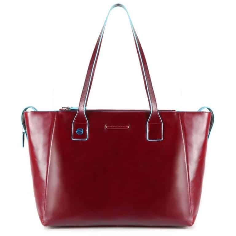 Rosso Pelle Borsa Shopper Piquadro Bd3883b2r Square Blue In Donna qq04xZSw