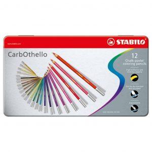 Matite CarbOthello Stabilo 12 Colori Confezione Metallo  - 1412/6
