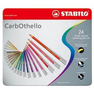 Matite CarbOthello Stabilo 24 Colori Confezione Metallo  - 1424-6