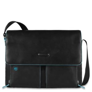 Messenger Piquadro porta pc con patta pelle Blue Square nero  - CA3337B2/N