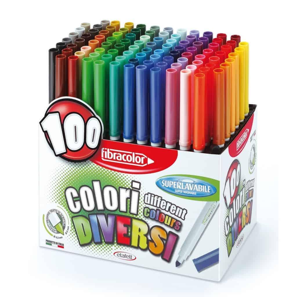 Pennarelli fibracolor box 100 colori diversi 10560sw100sa - Asciugatrice colori diversi ...