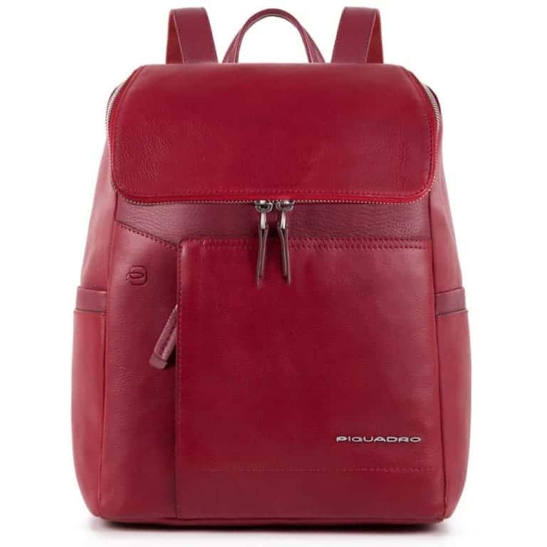 più foto d9e40 3df1e Zainetto Piquadro donna con porta iPad in pelle Cary rosso