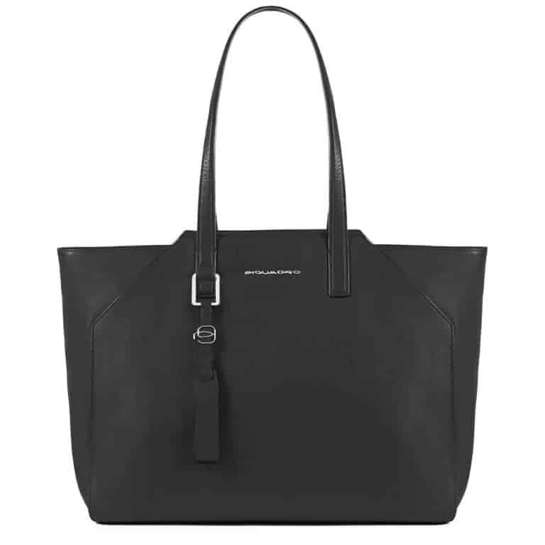 Borsa Piquadro shopping bag grande in pelle Muse nero