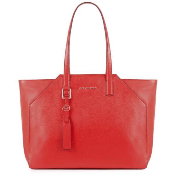 Borsa Piquadro shopping bag grande in pelle Muse rosso