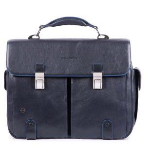 Cartella Piquadro porta PC 2 tasche pelle Blue Square Special blu