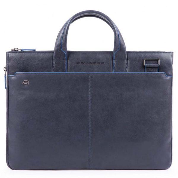 Cartella Piquadro sottile porta pc pelle Blue Square Special blu