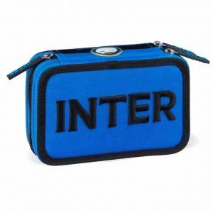 Astuccio INTER 3 zip boy azzurro nero