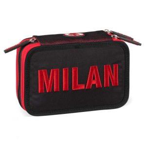 Astuccio MILAN 3 zip boy nero rosso