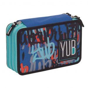 Astuccio Yub Seven 3 ZIP graffiti boy blu azzurro