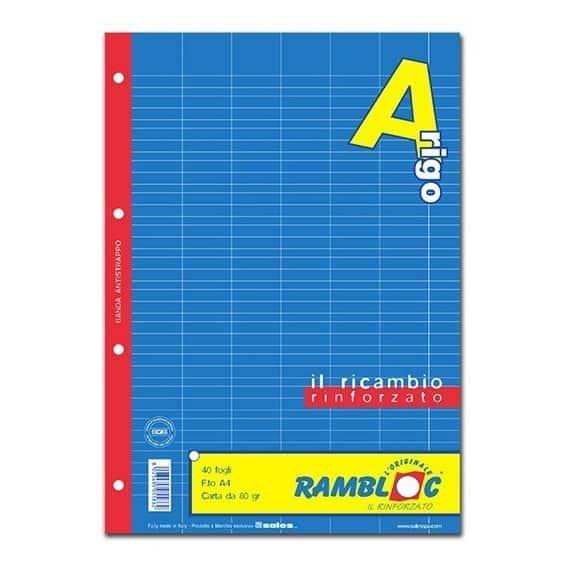 Rambloc ricambi rinforzati f.to A4 rigo A 40fg