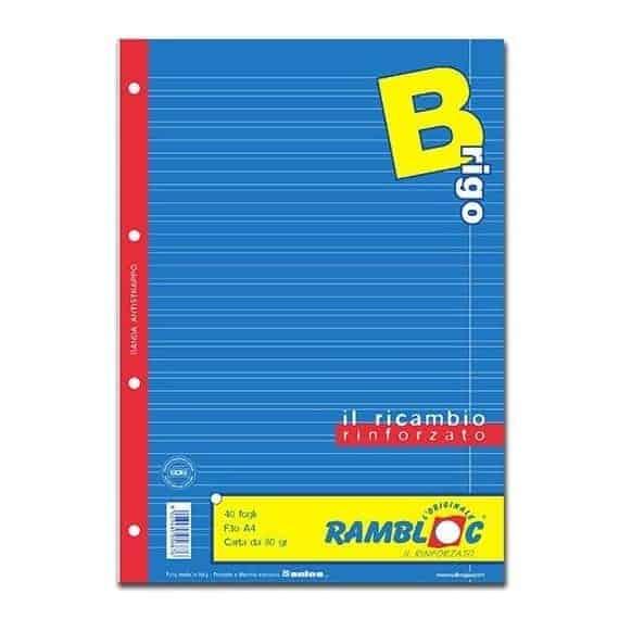 Rambloc ricambi rinforzati f.to A4 rigo B 40fg