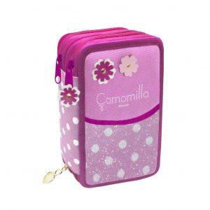 Astuccio Seven Camomilla 3 Zip Flowers & Dots Rosa