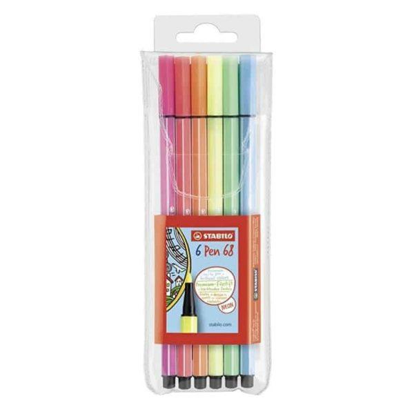 Confezione 6pz Stabilo Pen 68 Colori Fluo