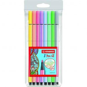 Confezione 8pz Stabilo Pen 68 Single Pack pastello