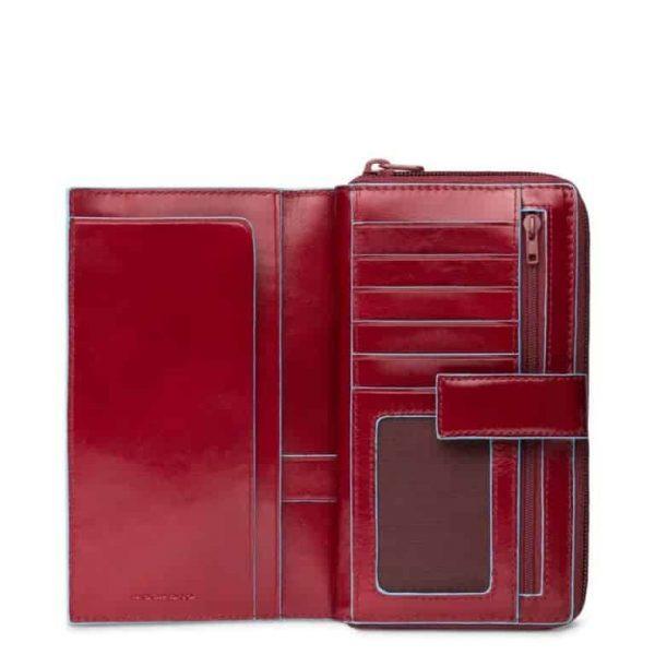 Portafoglio Piquadro donna con laccio e zip pelle Blue Square rosso