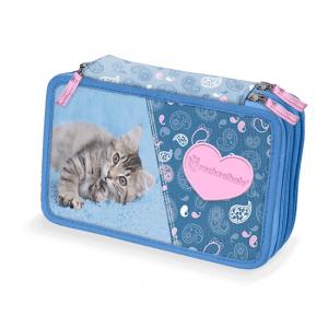 Astuccio Rachaelhale 3 zip gatto Jensen azzurro