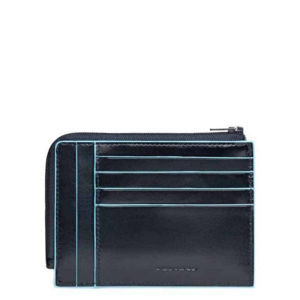 Bustina Piquadro portamonete-carte in pelle Blue Square blu