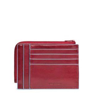 Bustina Piquadro portamonete-carte in pelle Blue Square rosso