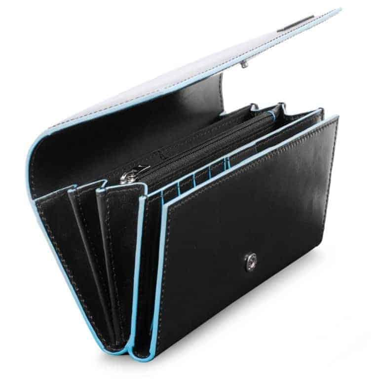 7351020a41 Portafoglio Piquadro donna 3 soffietti in pelle Blue Square nero