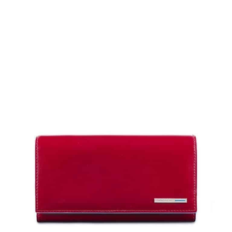 9e281a4dd5 Portafoglio Piquadro donna 3 soffietti in pelle Blue Square rosso