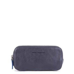 Astuccio Piquadro 3 cerniere in pelle Blue Square Special blu