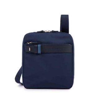 Borsello Piquadro porta iPad mini pelle tessuto Hexagon blu