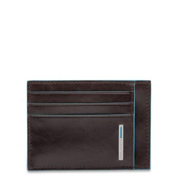 Bustina Piquadro uomo porta carte tascabile pelle Blue Square mogano