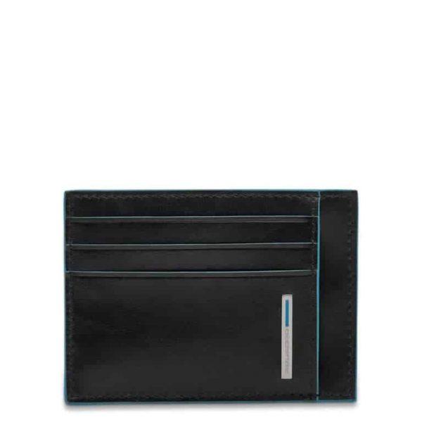 Bustina Piquadro uomo porta carte tascabile pelle Blue Square nero