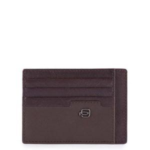 Bustina Piquadro porta carte credito tascabile in pelle Line testa moro