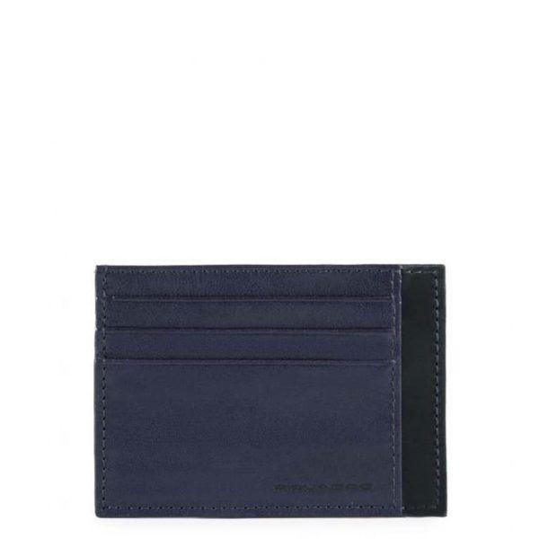 Bustina Piquadro porta carte credito tascabile in pelle Pyramid blu