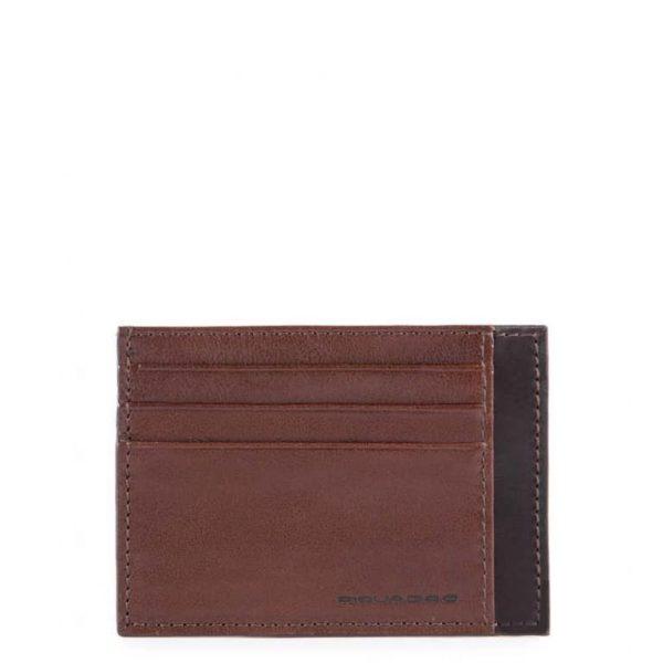 Bustina Piquadro porta carte credito tascabile in pelle Pyramid marrone