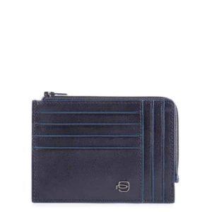 Bustina Piquadro portamonete-carte pelle Blue Square Special blu
