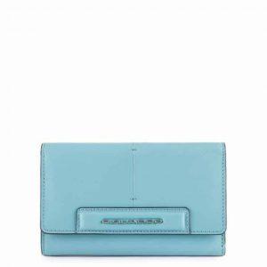 Portafoglio Piquadro donna grande con porta carte di credito Splash in pelle azzurro/sabbia