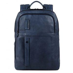 Zaino Piquadro grande porta PC con scomparto per iPad P15s in pelle blu