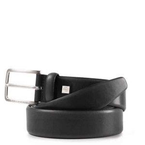 Cintura Piquadro uomo con fibbia ad ardiglione in pelle nero