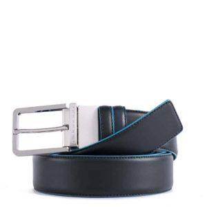 Cintura Piquadro uomo reversibile in pelle Blue Square nero/blu