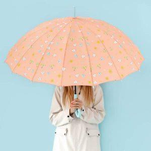 Ombrello grande color corallo - Disegno con gocce Mr Wonderful