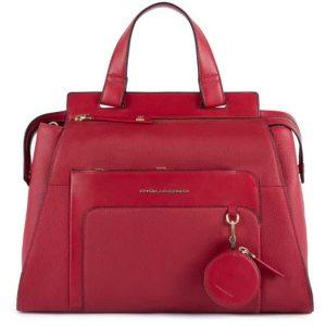 Borsa Piquadro donna con charm portaspiccioli in pelle Feels rosso