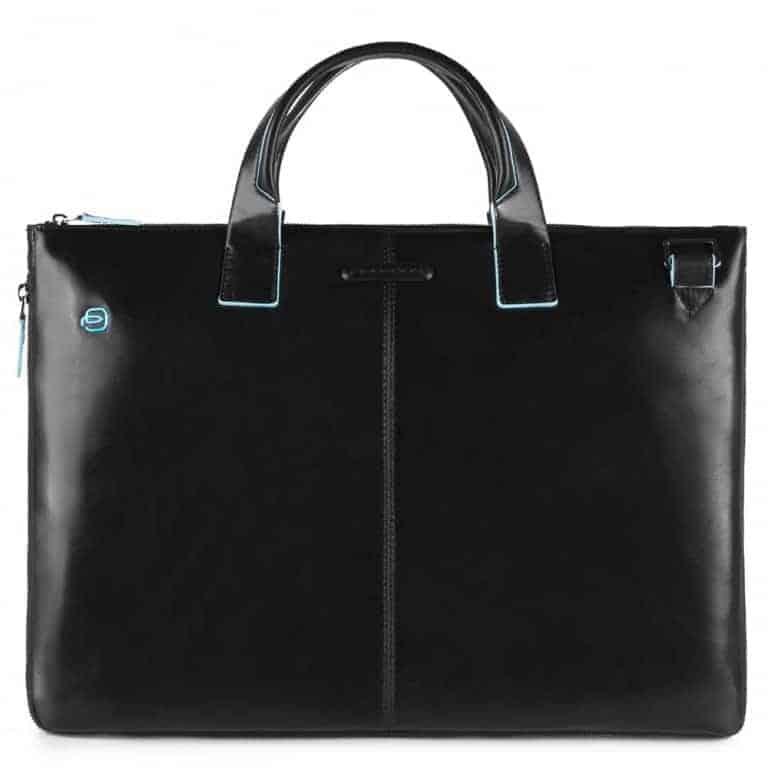 Cartella Piquadro sottile porta pc pelle Blue Square Special nero