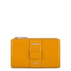 Portafoglio Piquadro donna sottile con portamonete in pelle Lol giallo