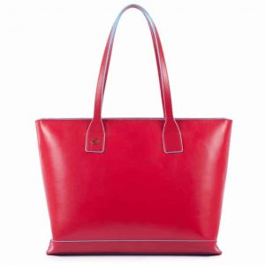 Shopping bag Piquadro sfoderata in pelle Blue Square rosso