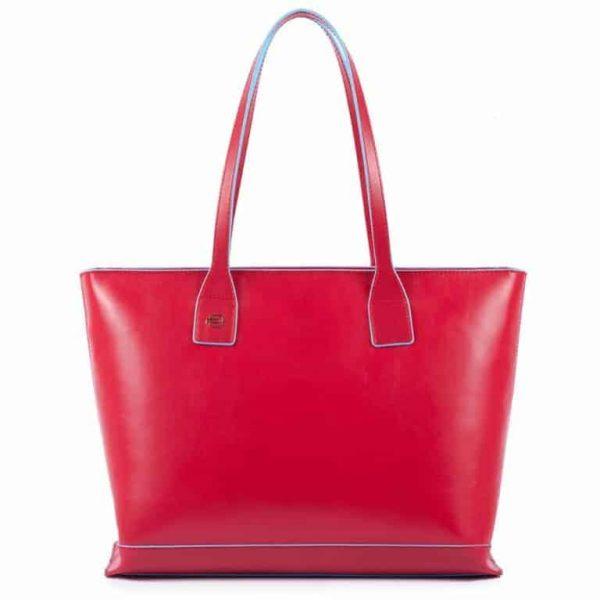 Shopping bag Piquadro sfoderata in pelle Blue Square rosso